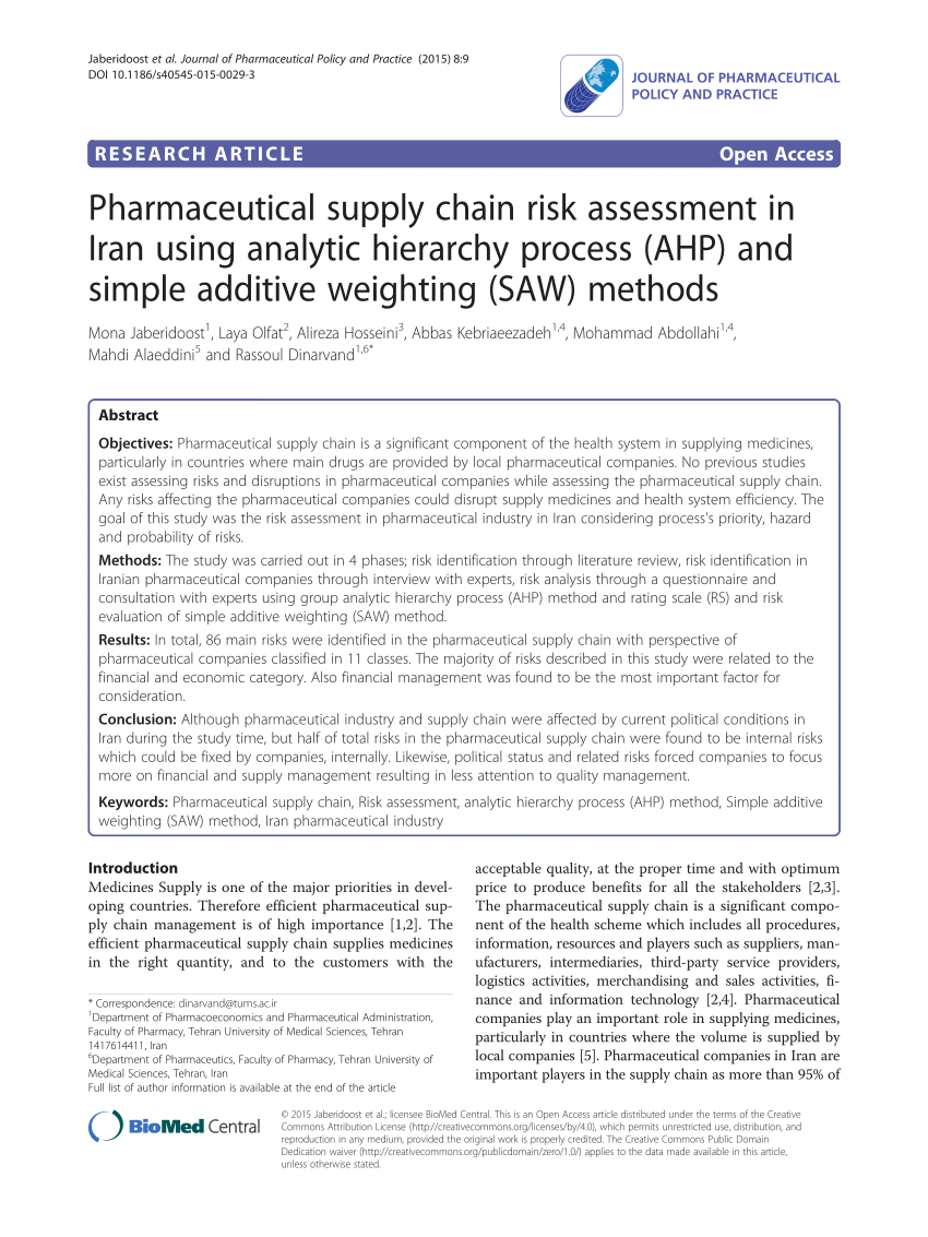 Pdf Pharmaceutical Supply Chain Risk Assessment With Regard To Pharmaceutical Supply Agreement Template
