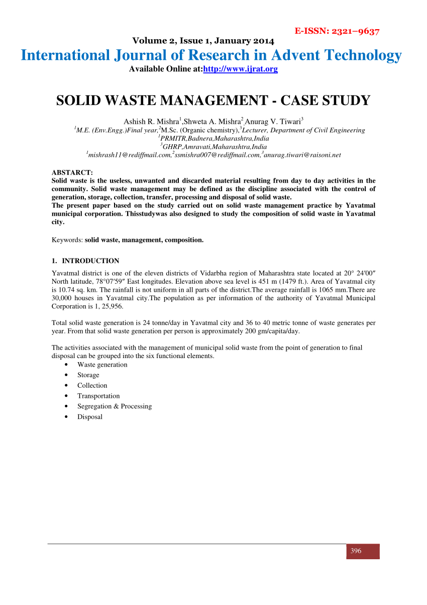 Pdf Solid Waste Management Case Study With Waste Management Report Template