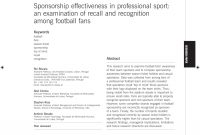 Pdf Sponsorship Effectiveness In Professional Sport An Examination inside Sports Sponsorship Agreement Template