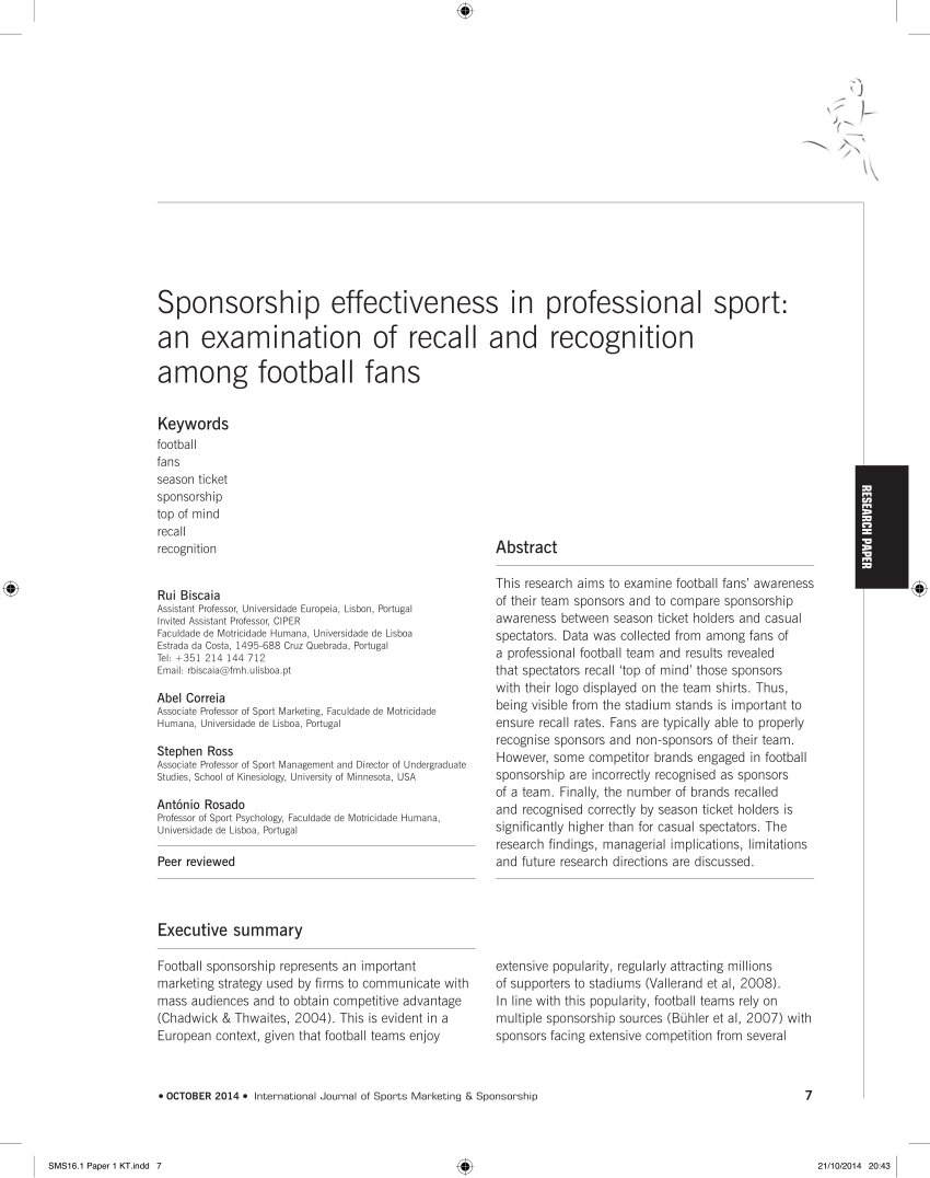 Pdf Sponsorship Effectiveness In Professional Sport An Examination Inside Sports Sponsorship Agreement Template