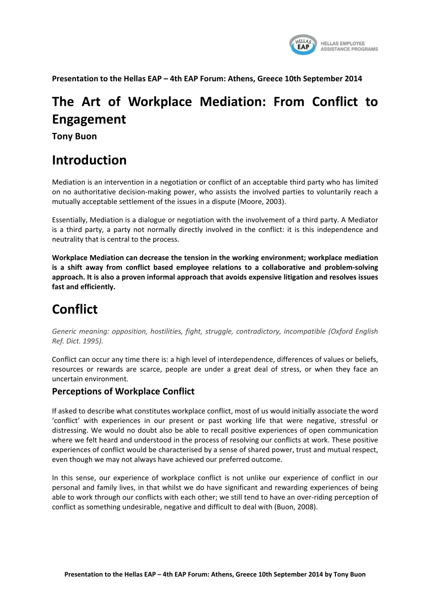 Pdf The Art Of Workplace Mediation From Conflict To Engagement For Workplace Mediation Outcome Agreement Template