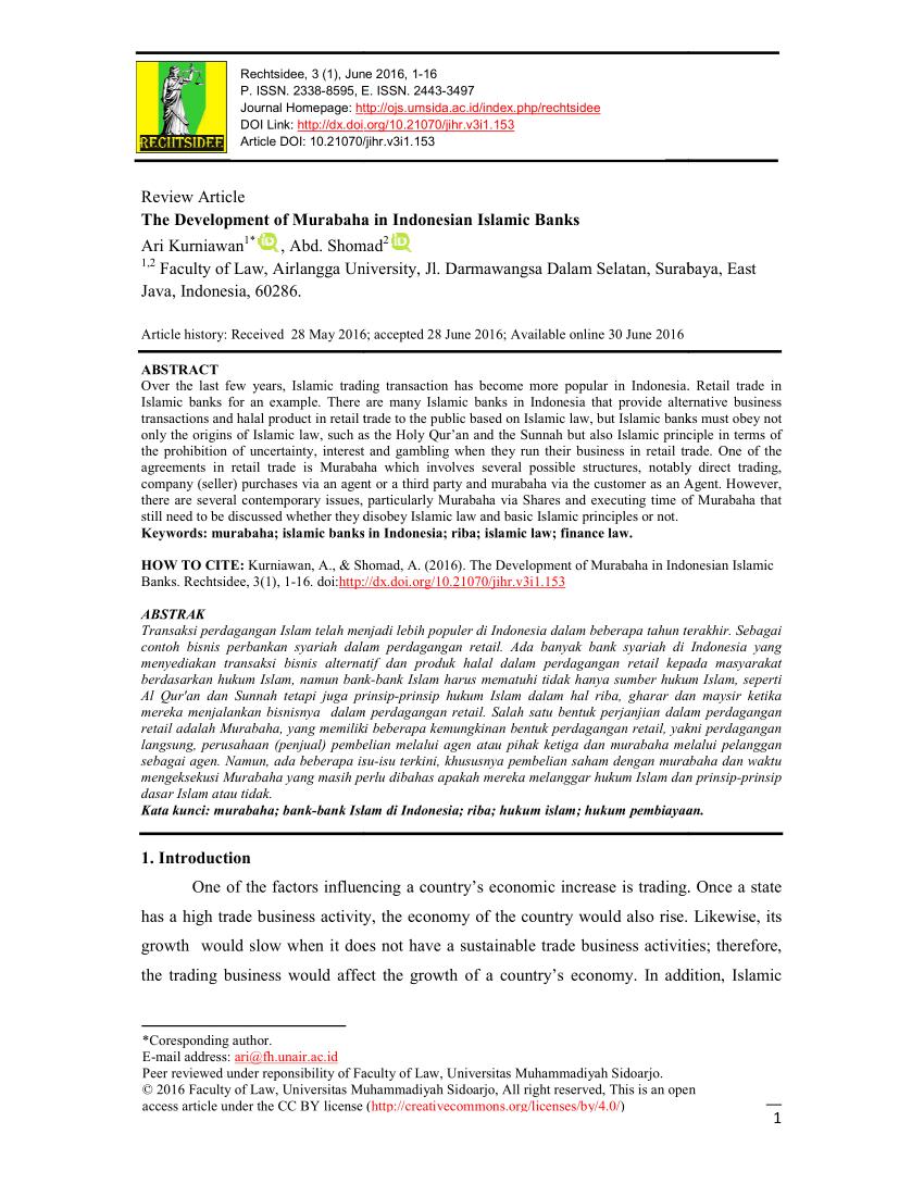 Pdf The Development Of Murabaha In Indonesian Islamic Banks Intended For Murabaha Agreement Template