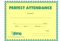 Perfect Attendance Certificate Printable  Free Download  Dtemplates pertaining to Perfect Attendance Certificate Template