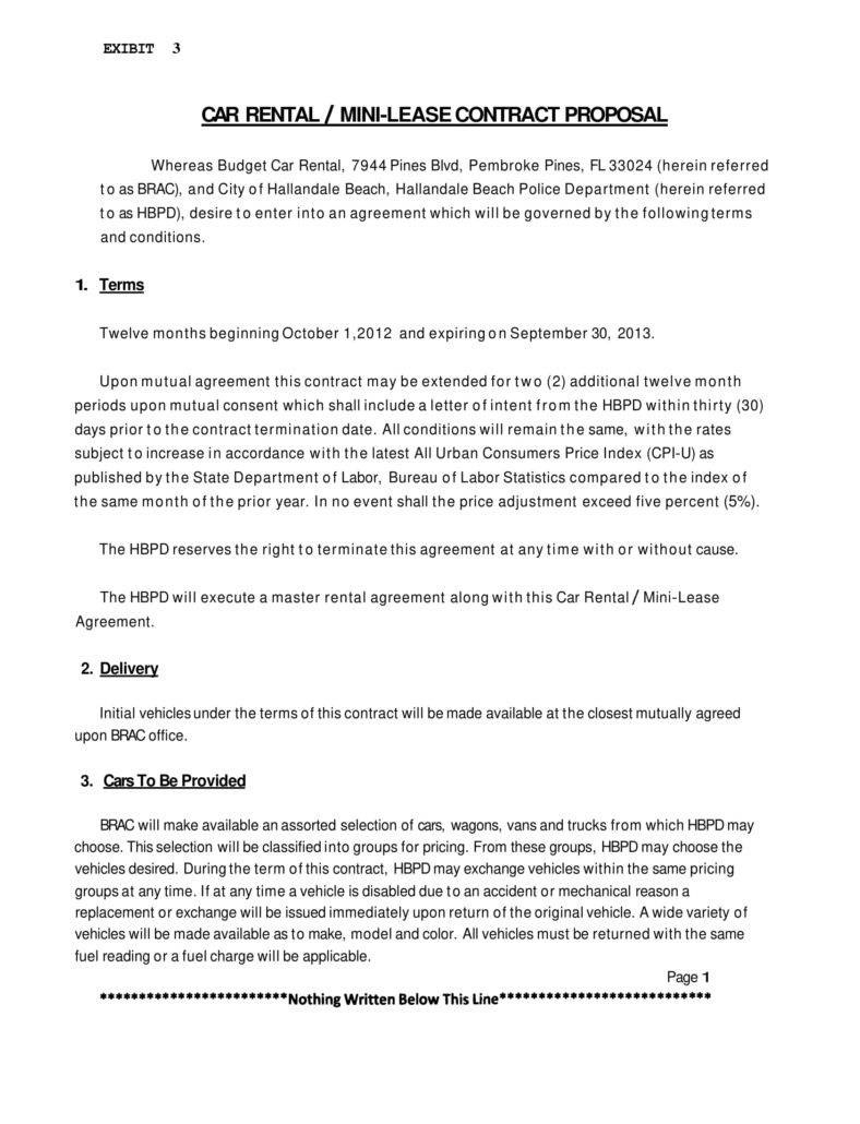 Personal Car Rental Agreement Templates  Pdf Word  Free With Free Motor Vehicle Lease Agreement Template