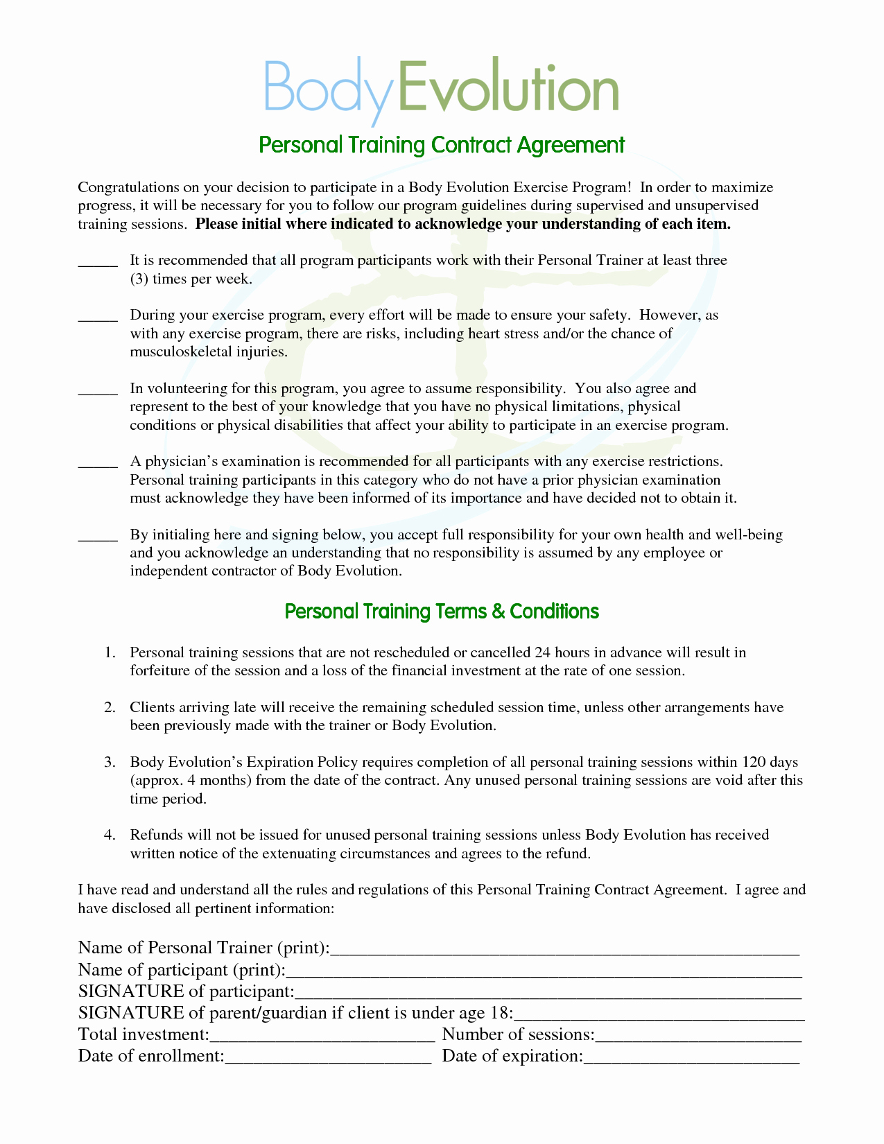 Personal Trainer Contract Template  Template Modern Design Throughout Personal Training Cancellation Policy Template
