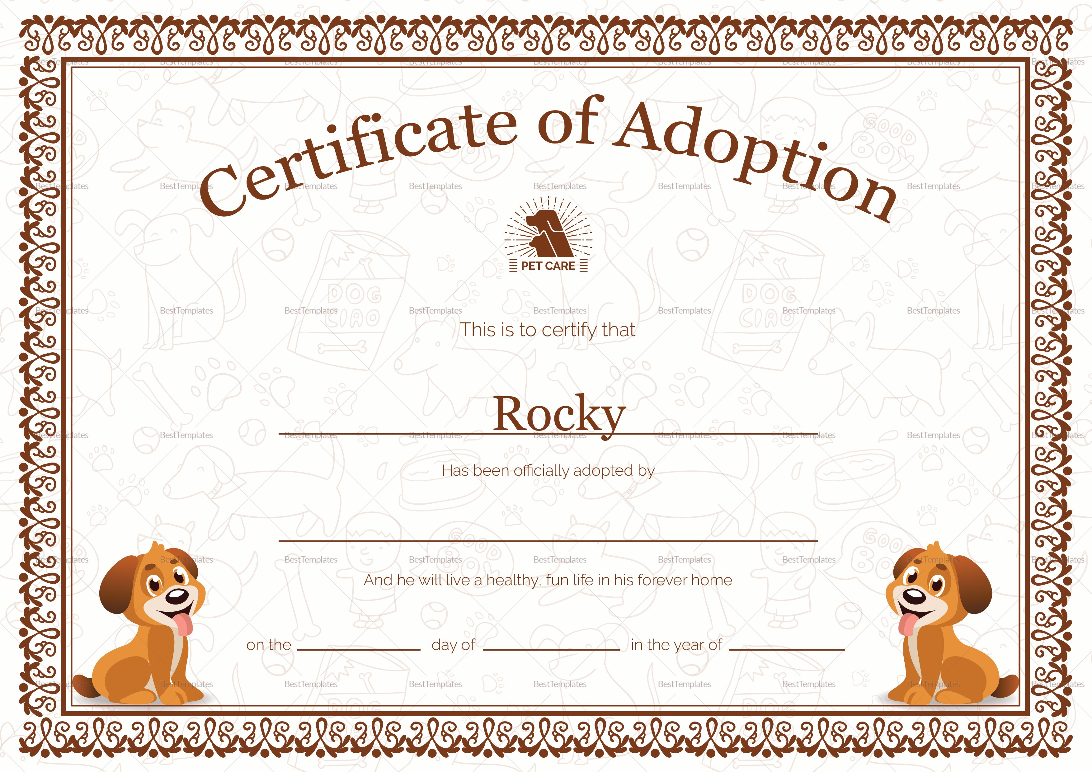 Pet Adoption Certificate Design Template In Psd Word With Pet Adoption Certificate Template