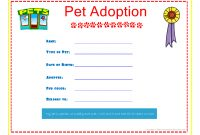 Pet Adoption Certificate For The Kids To Fill Out About Their Pet throughout Pet Adoption Certificate Template