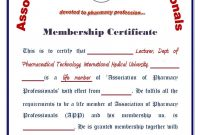 Pharmacy Technician Certificate Template – Certificate Templates with regard to Life Membership Certificate Templates