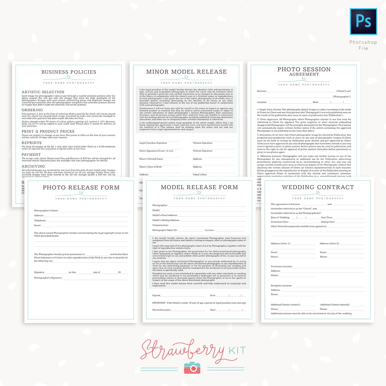 Photography Business Forms Bundle  Strawberry Kit In Photography Business Forms Templates