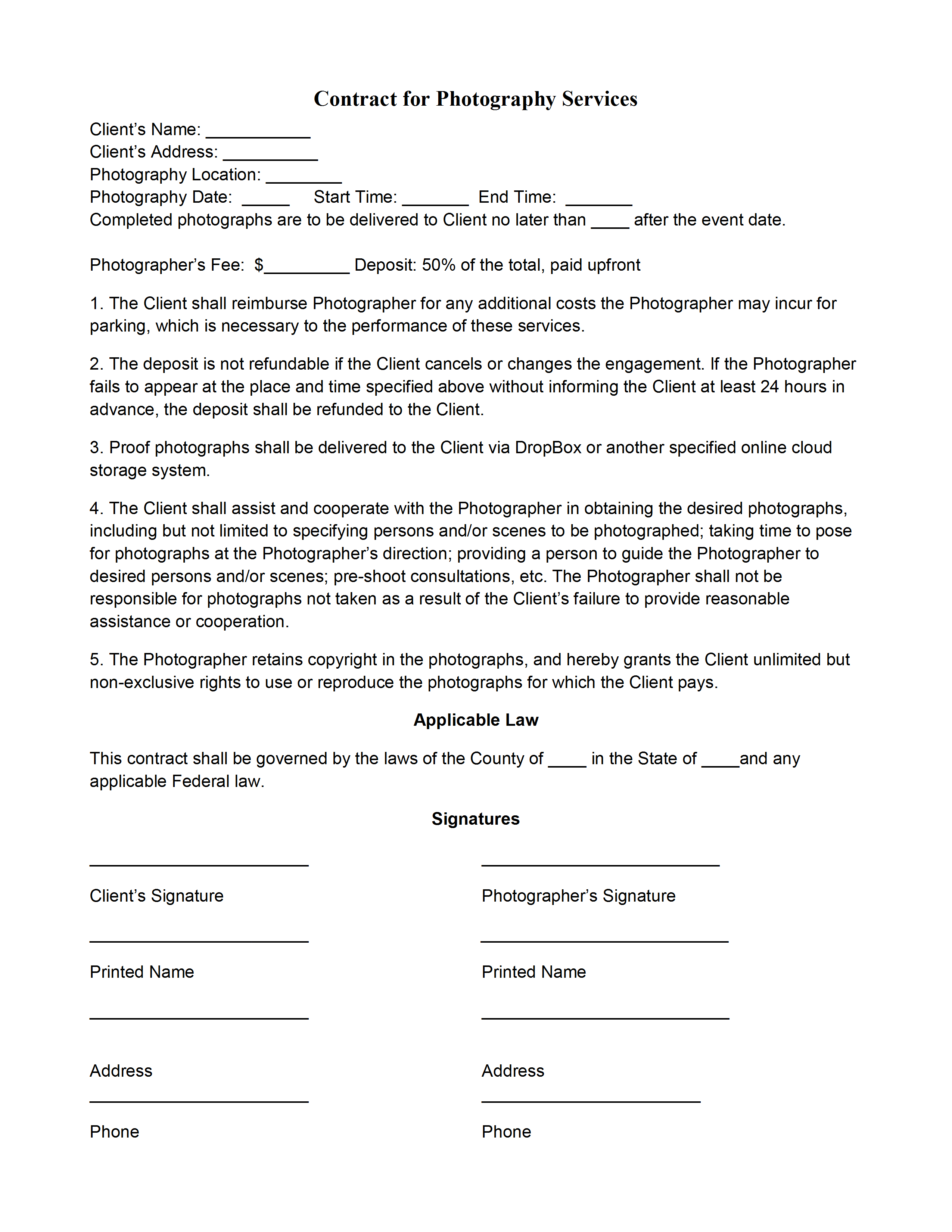 Photography Contract Template Pertaining To Photography Cancellation Policy Template
