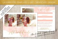 Photography Gift Certificate Template  Photo Gift Card  Watercolor within Gift Certificate Template Photoshop