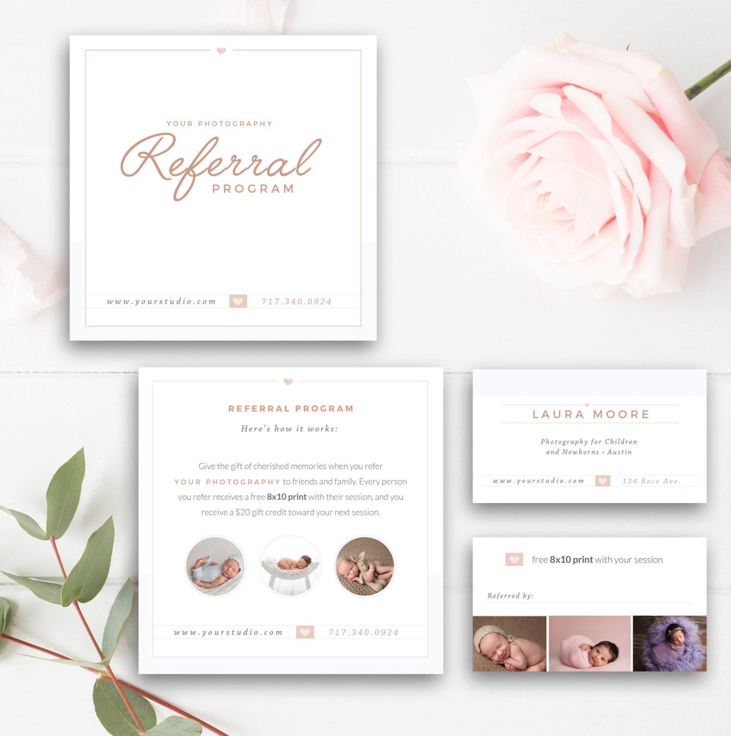 Photography Referral Card Photoshop Template Referral  Etsy With Photography Referral Card Templates