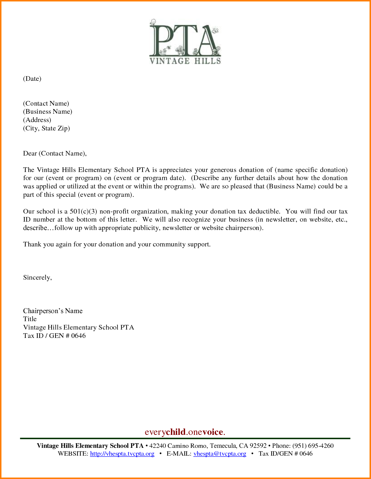 Pinjulie Maglott On Pto  Donation Letter Template Thank You For Donation Report Template