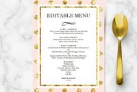 Pink And Gold Menu  Wedding Templates  Hands In The Attic within Bridal Shower Menu Template