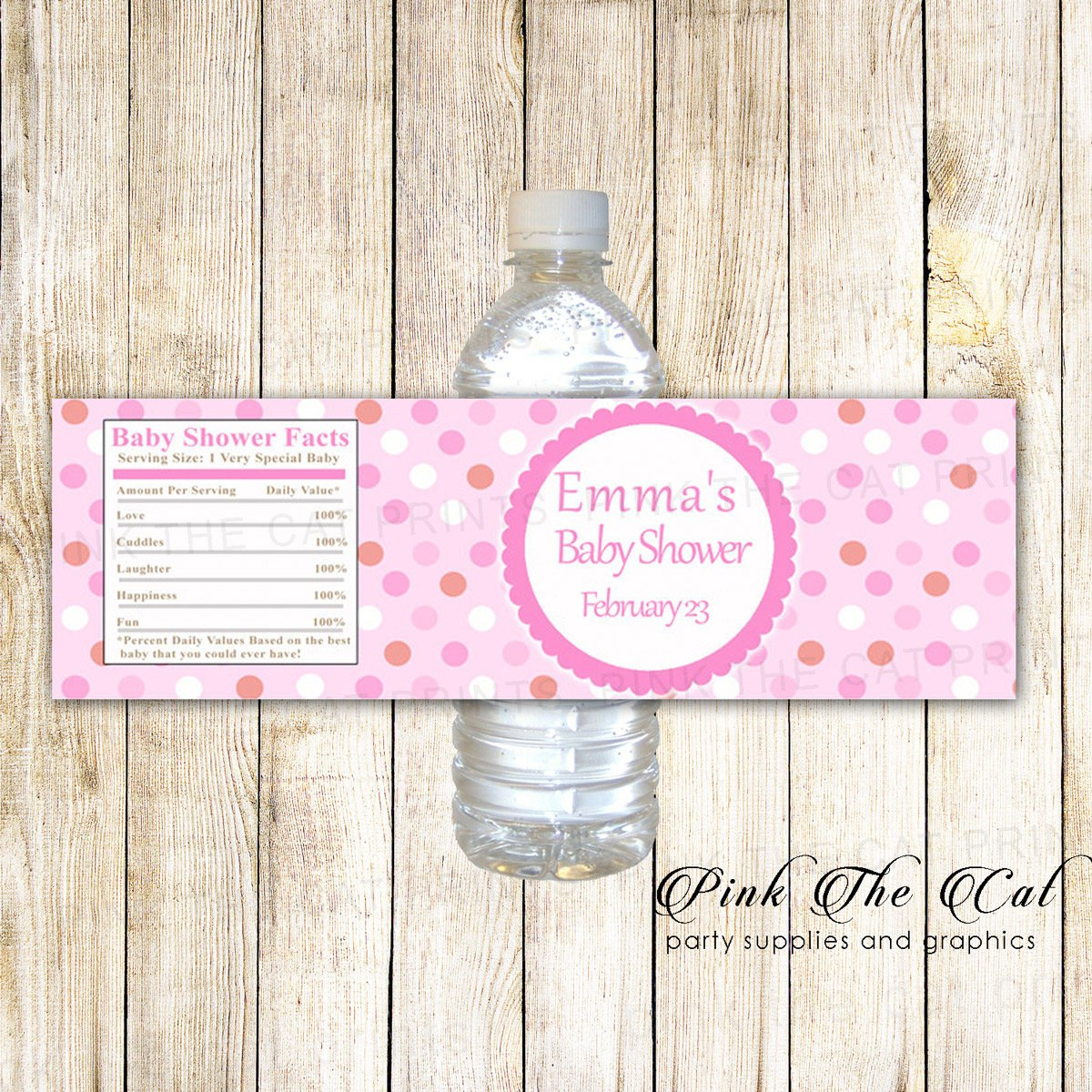 Pink Baby Shower Water Bottle Labels Printable Bottle Labels  Etsy With Baby Shower Water Bottle Labels Template