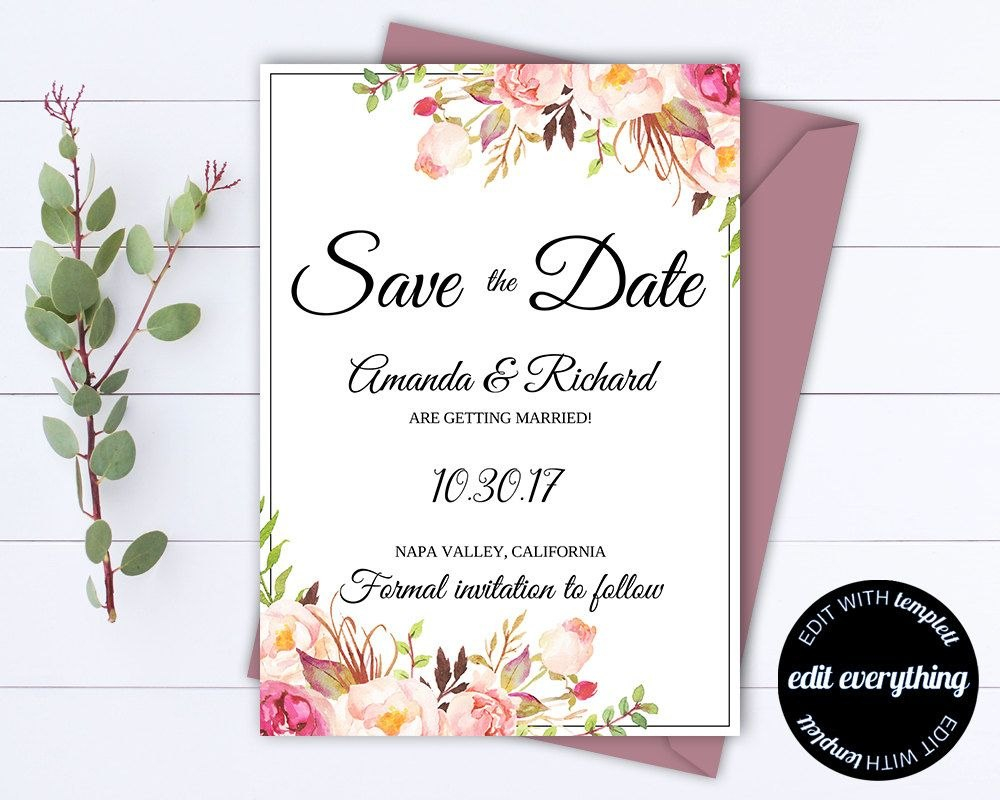 Pink Floral Save The Date Wedding Template Pink Floral Save The Date For Save The Date Cards Templates