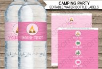 Pink Girl Camping Party Water Bottle Labels  Editable Template regarding Birthday Water Bottle Labels Template Free