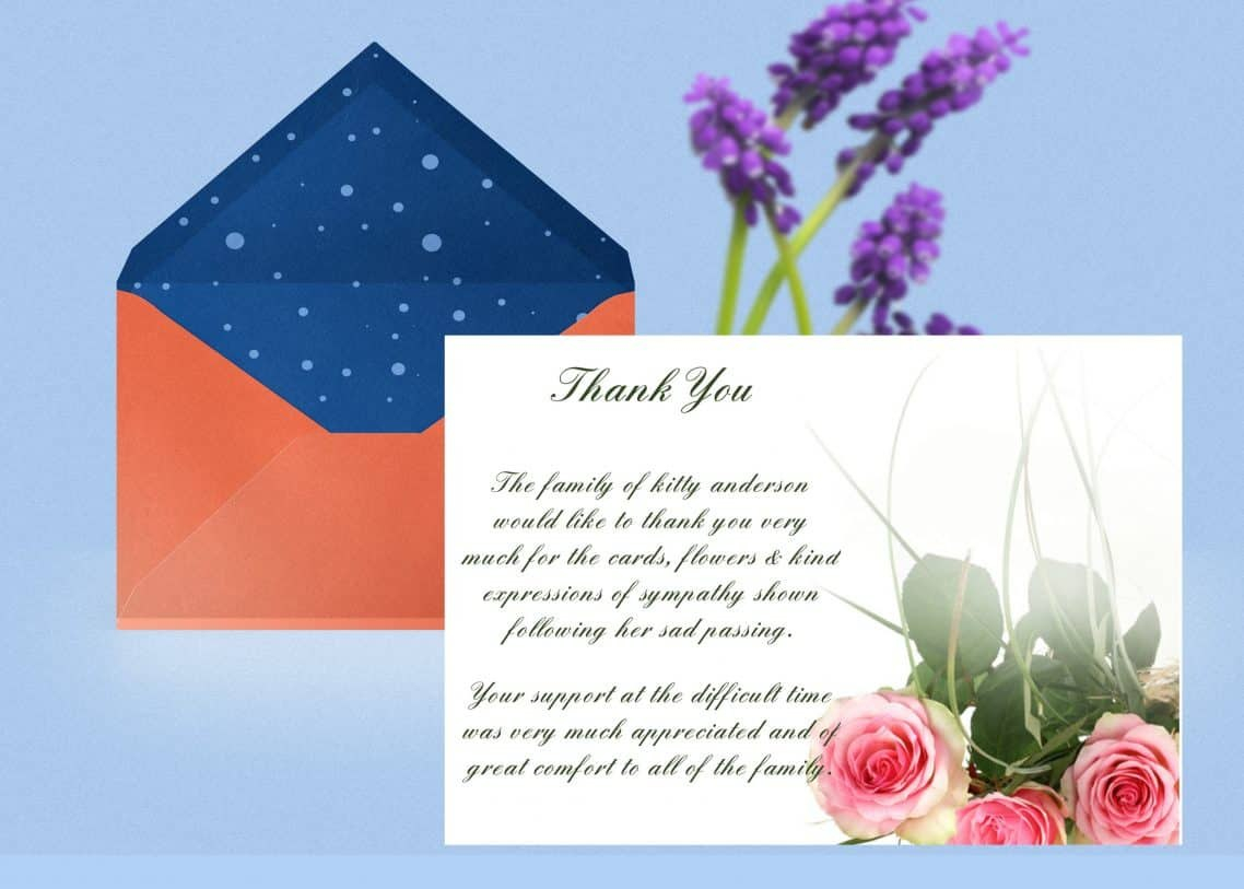 Pink Rose Thank You Card Template  Funeral Thank You Card Intended For Sympathy Thank You Card Template