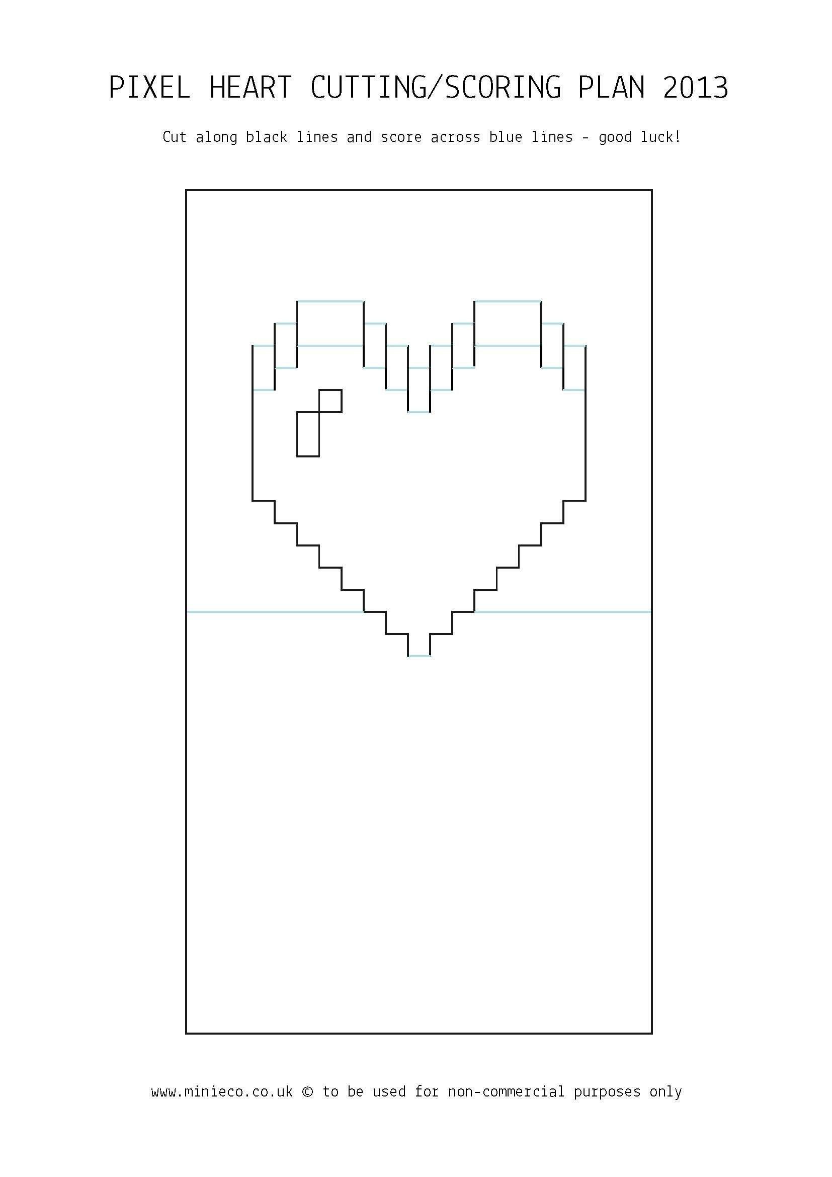 Pixel Heart Pop Up Card   Crafts  Pop Up Card Templates Pop Up Inside Pop Out Heart Card Template
