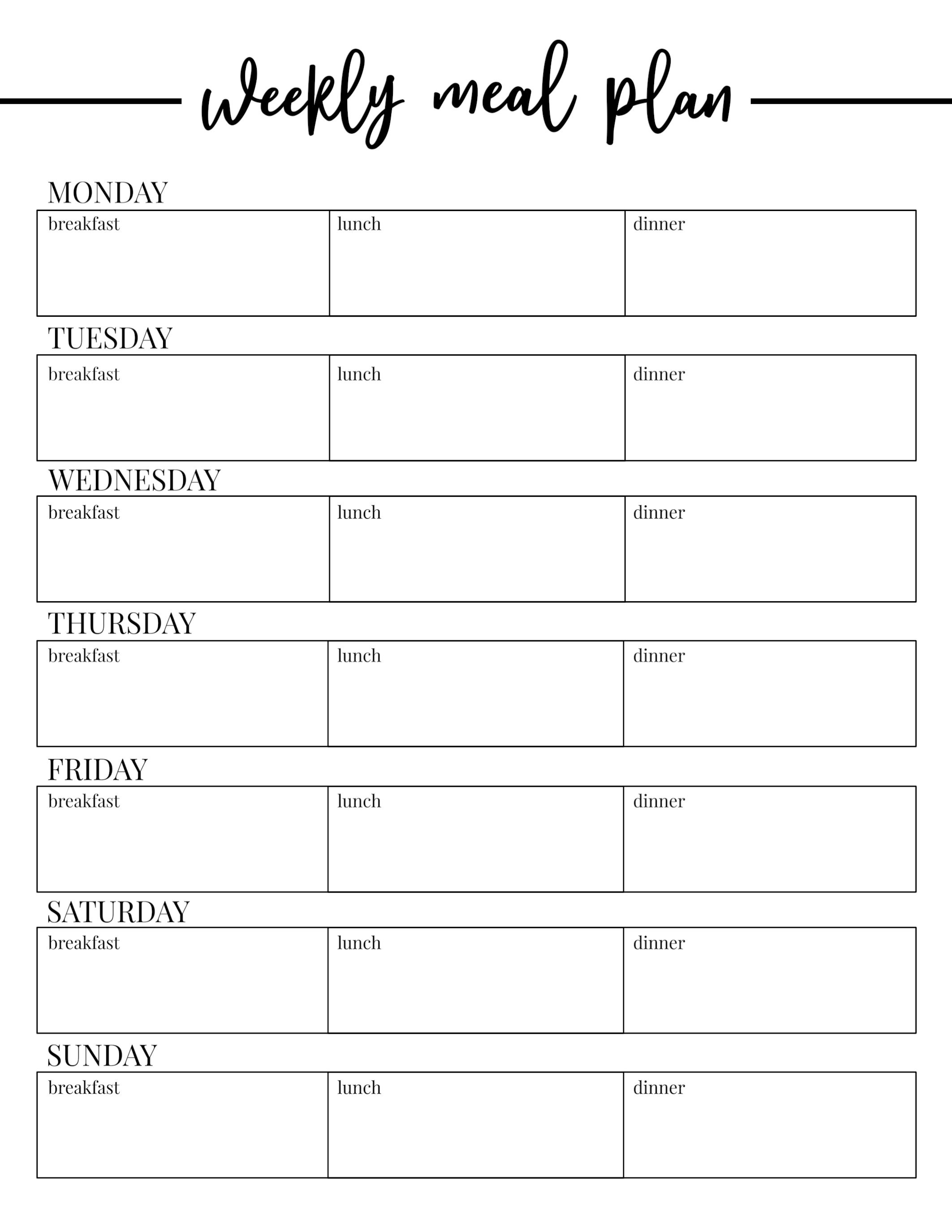 Plans Weekly Meal Free Planning Singular Template Plan Templates Regarding Weekly Menu Template Word