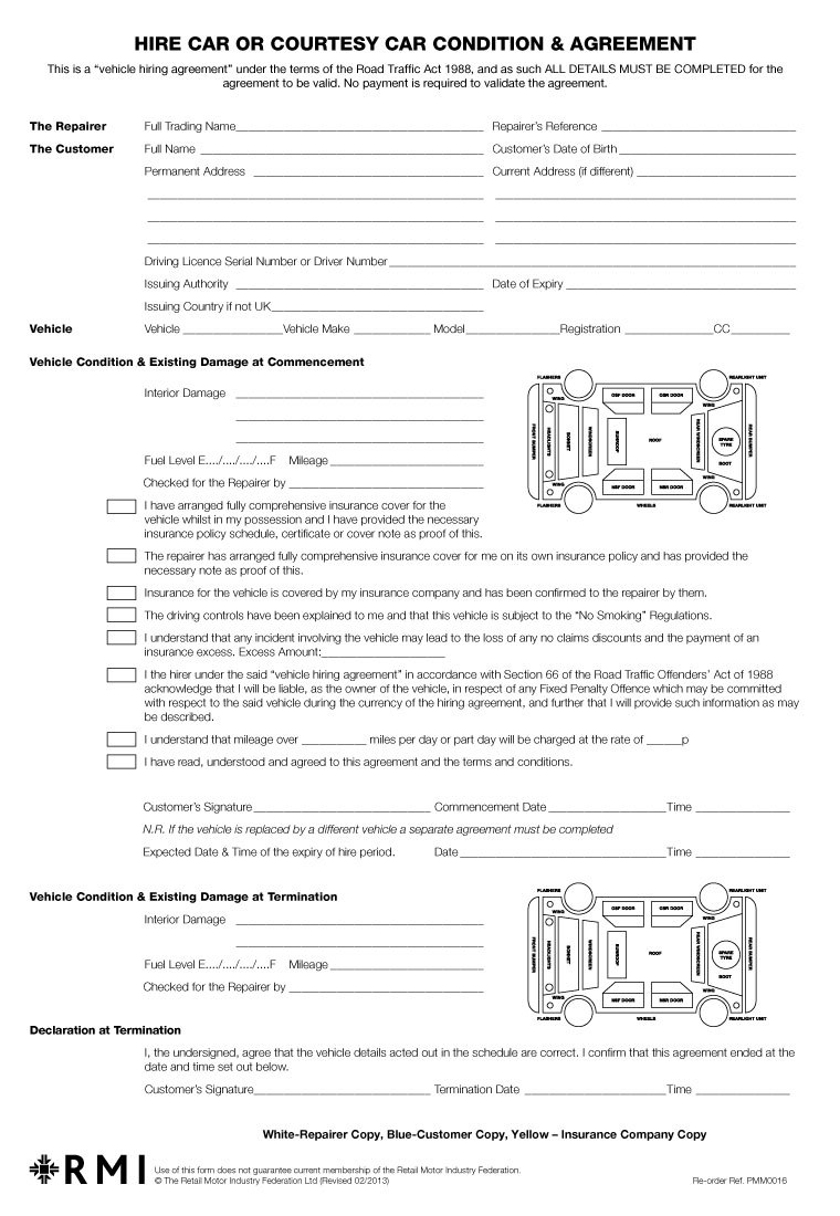 Pmm  Hire Car Condition  Agreement Form Pad  Rmi Webshop With Car Hire Agreement Template
