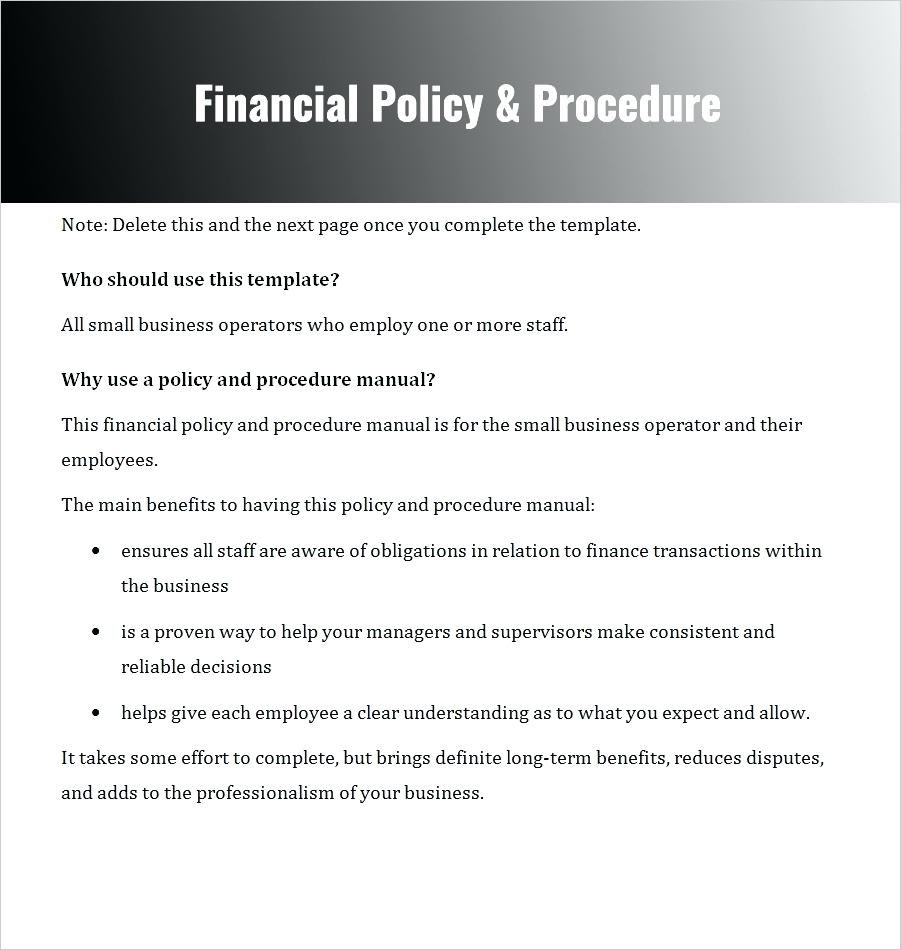 Policies And Procedures Template For Small Business  Bizoptimizer Inside Policies And Procedures Template For Small Business