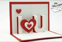 Pop Up Karte Basteln  I Love You 💕  Bastelidee Zum Valentinstag in I Love You Pop Up Card Template