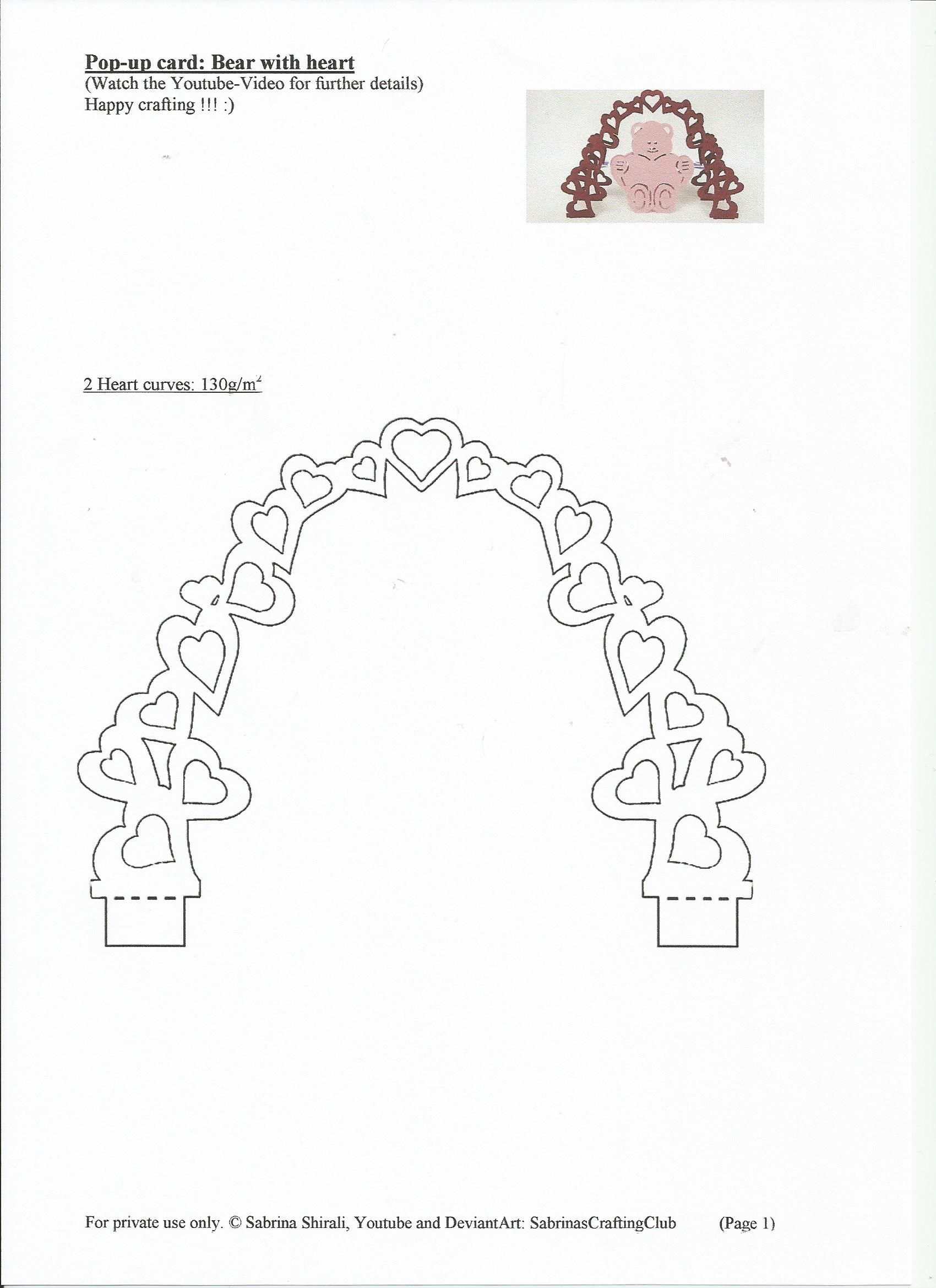 Popup Card Bear Page Sabrinascraftingclub On Deviantart With Pop Up Wedding Card Template Free
