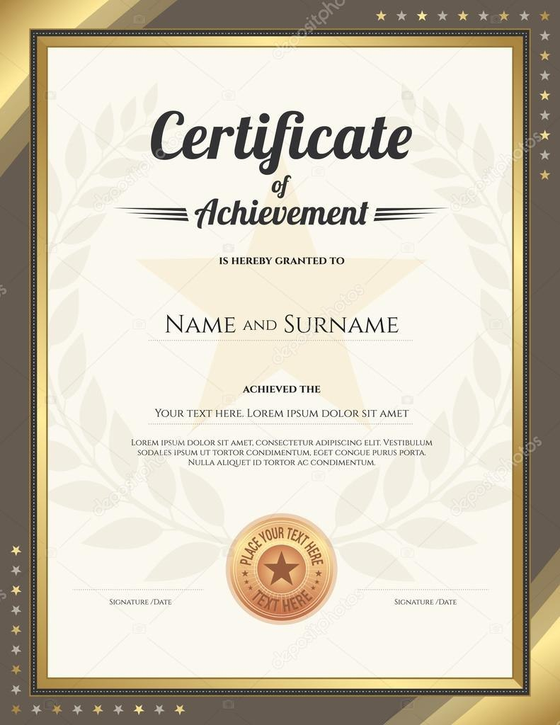 Portrait Certificate Of Achievement Template With Gold Border And Within Star Naming Certificate Template