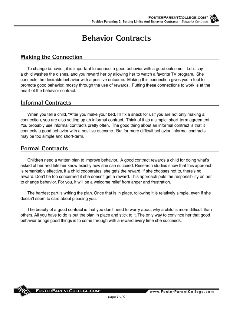 Positive Parenting  Setting Limits And Behavior Contracts Behavior Within Good Behavior Contract Templates