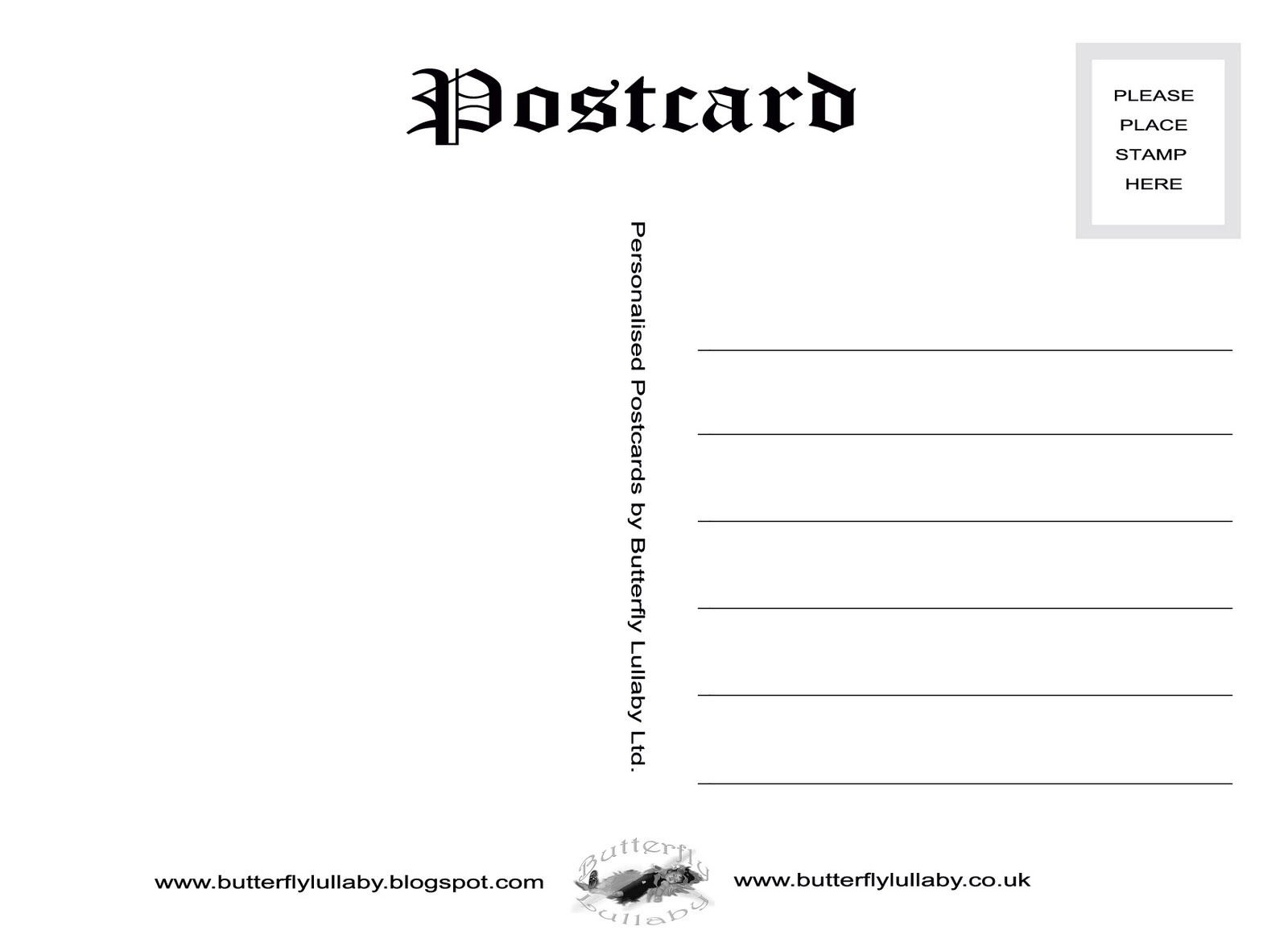 Post Card Template  Print Off The Butterfly Lullaby Postcard Within 4X6 Photo Card Template Free