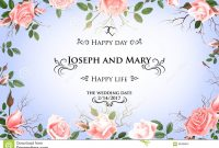 Postcard With Delicate Flowers Roses Wedding Invitation Thank You for Save The Date Banner Template