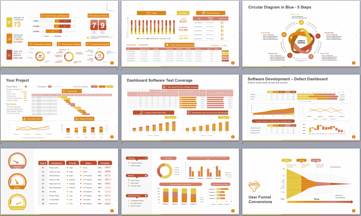 Powerpoint Template To Report Metrics Kpis And Project Development Intended For Monthly Report Template Ppt