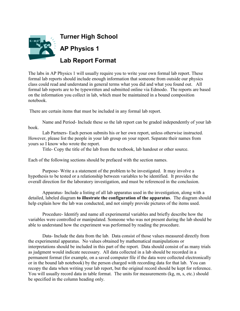 Preap Physics Lab Report Format With Regard To Physics Lab Report Template