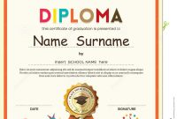 Preschool Elementary School Kids Diploma Certificate Background inside Preschool Graduation Certificate Template Free