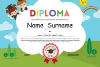 Preschool Elementary School Kids Diploma Template Vector Image in Free School Certificate Templates