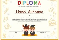 Preschool Kids Diploma Certificate Template Vector Image intended for Preschool Graduation Certificate Template Free
