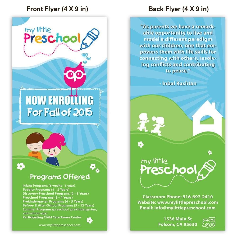 Preschool Poster Template Design  Playschool  School Brochure Inside Daycare Brochure Template