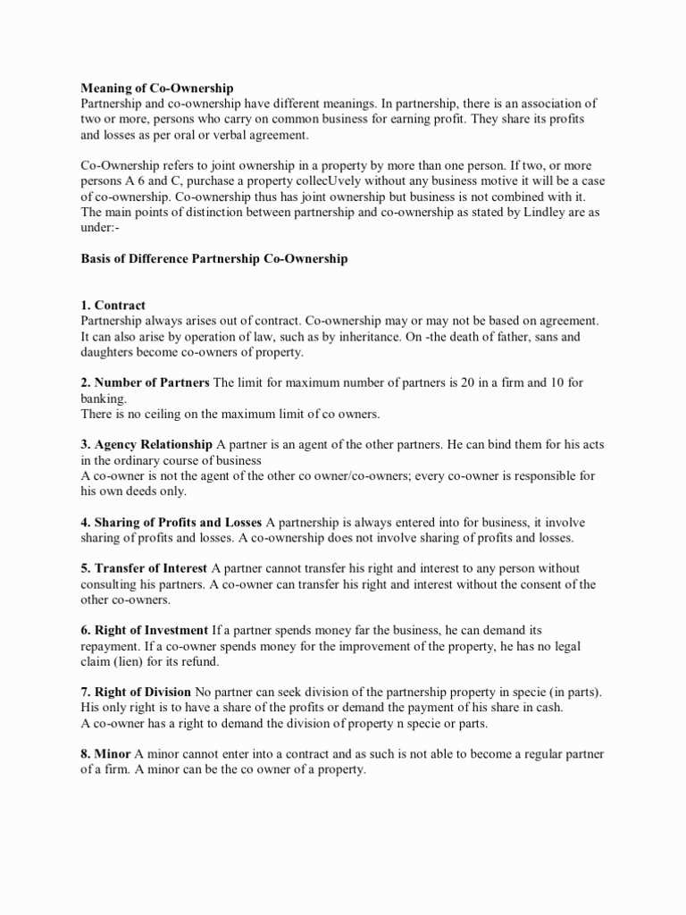 Print Joint Ownership Agreement Template  Id Opendata Intended For Joint Property Ownership Agreement Template