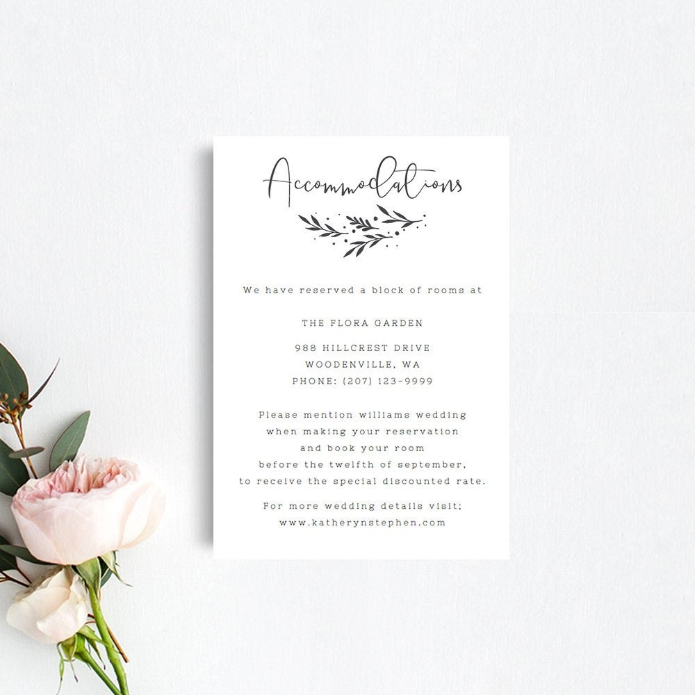 Printable Accommodation Card Templates Rustic Wedding  Etsy With Regard To Wedding Hotel Information Card Template