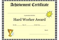 Printable Achievement Certificates Kids  Hard Worker Achievement regarding Player Of The Day Certificate Template