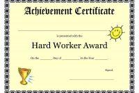 Printable Achievement Certificates Kids  Hard Worker Achievement throughout Update Certificates That Use Certificate Templates