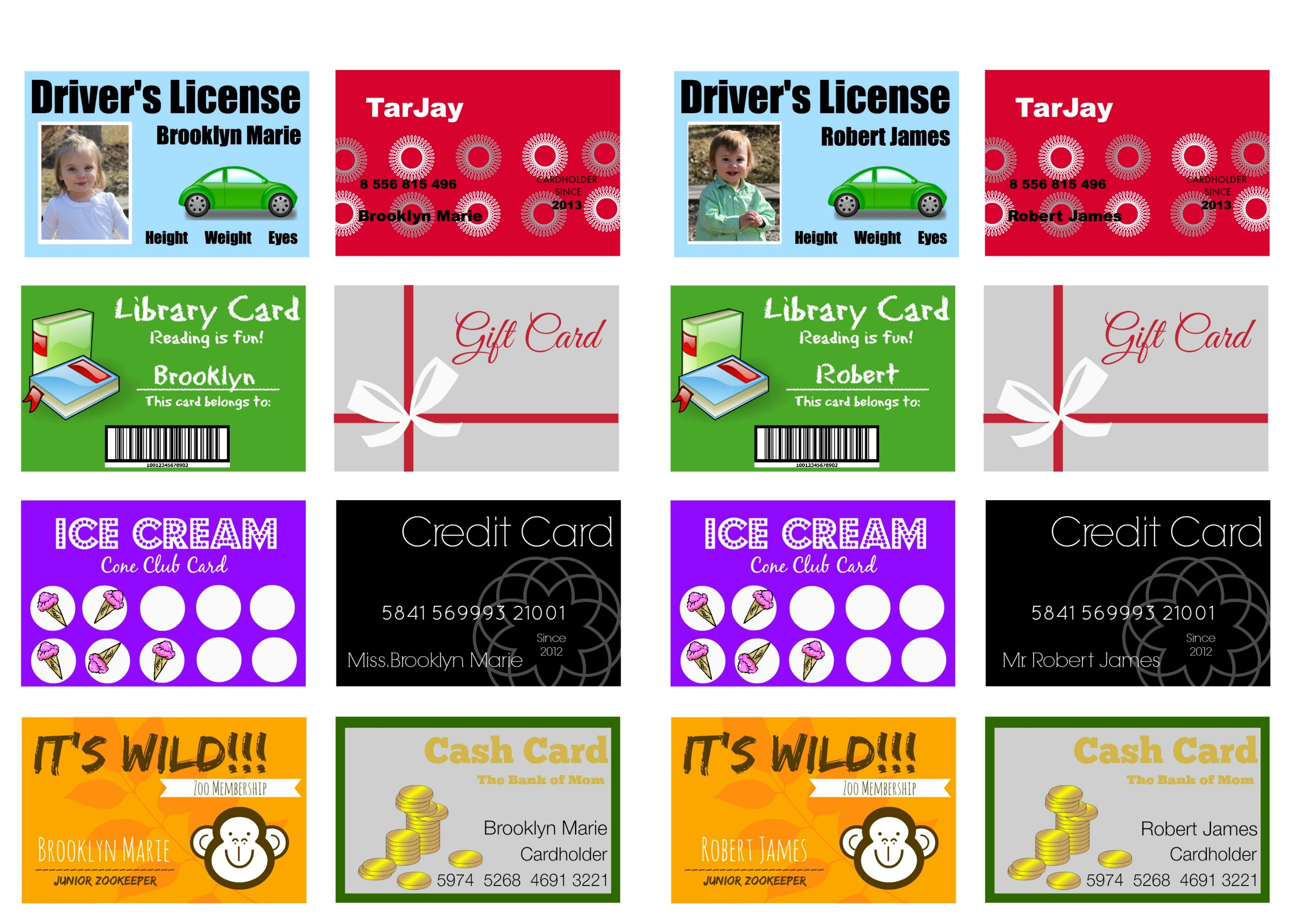 Printable And Customizable Play Credit Cards  The Crazy Craft Lady Throughout Credit Card Template For Kids