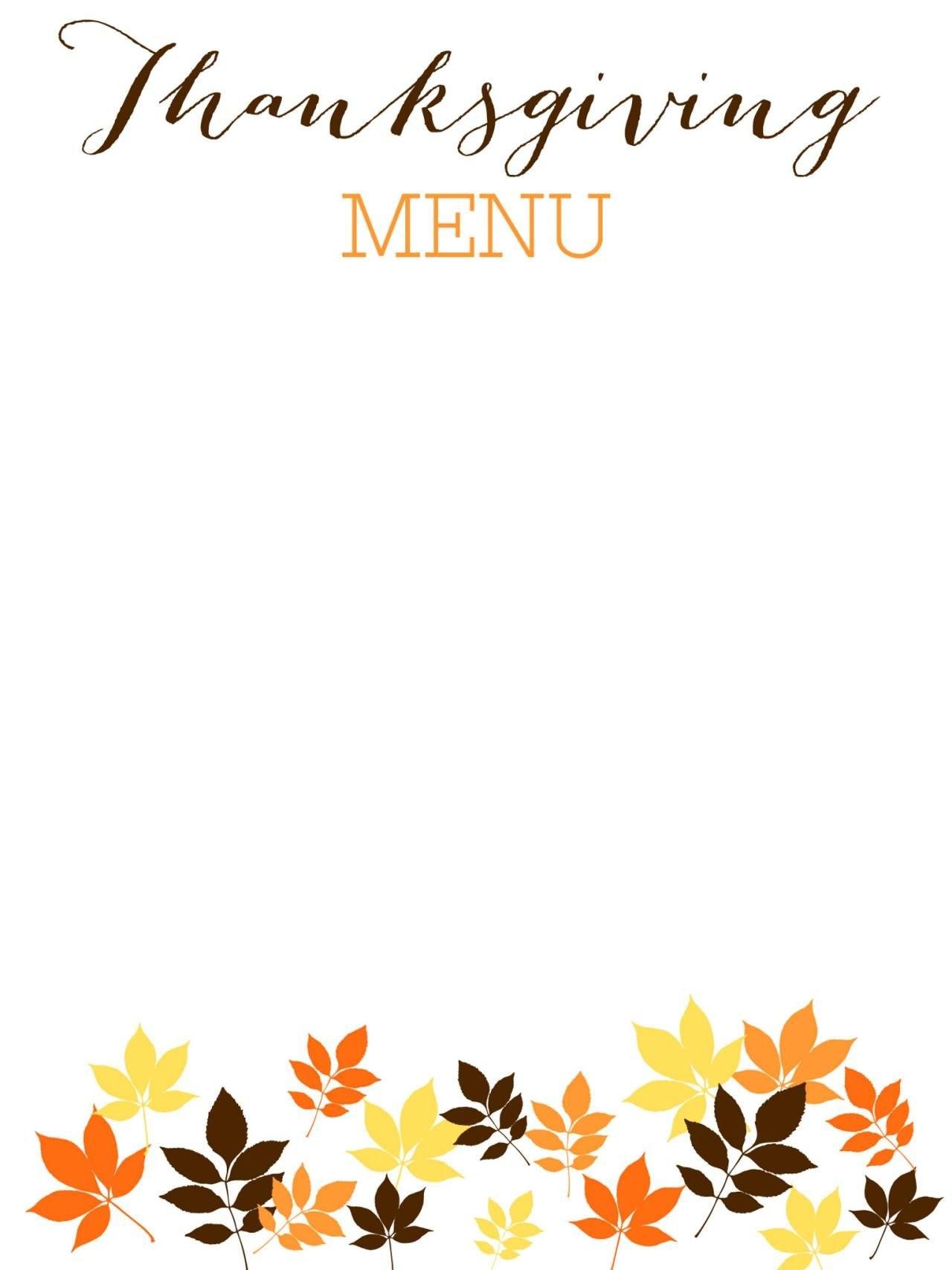 Printable And Free Thanksgiving Templates  Examen Final Pertaining To Thanksgiving Menu Template Printable