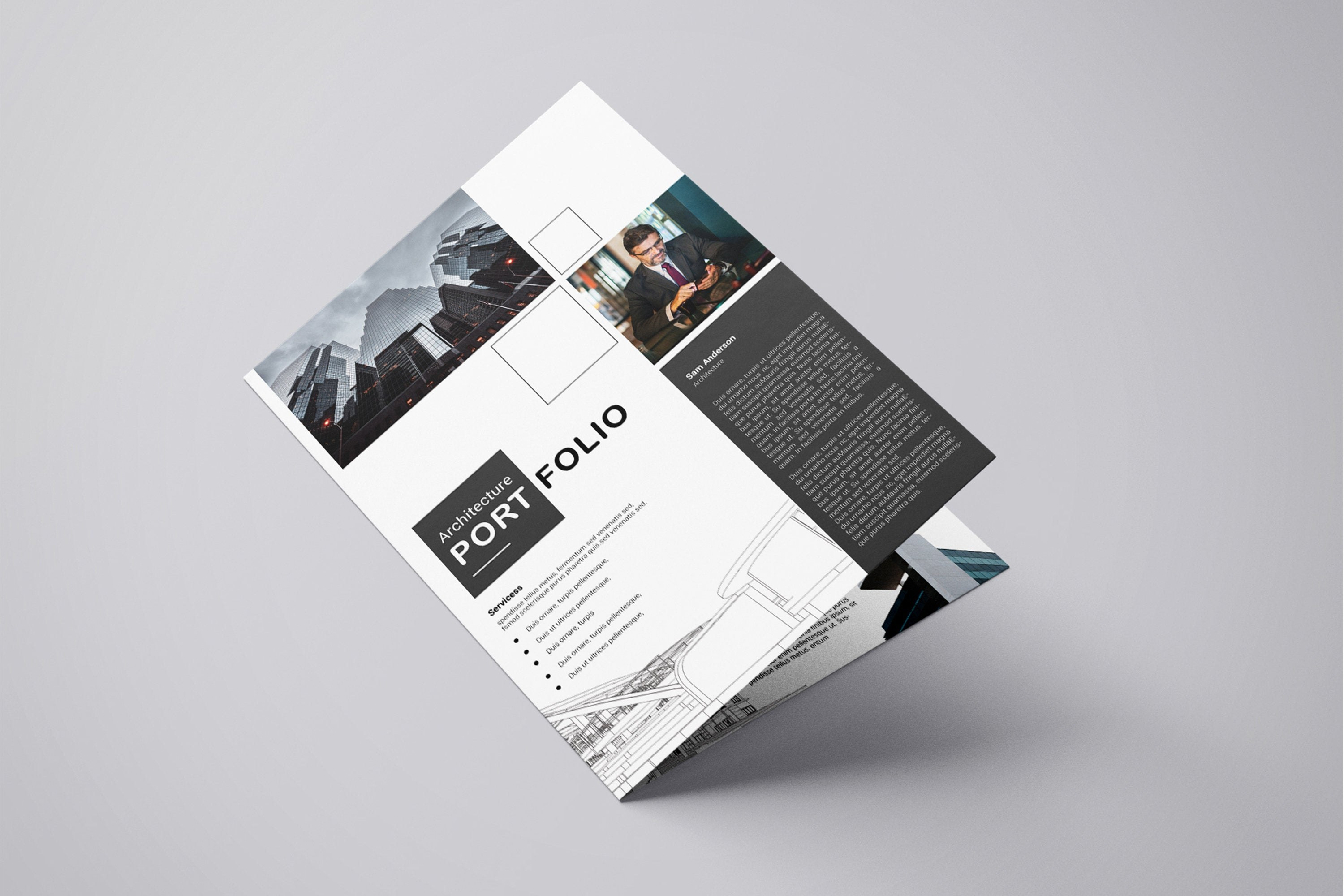 Printable Architectural Portfolio Brochure Template  Etsy In Architecture Brochure Templates Free Download