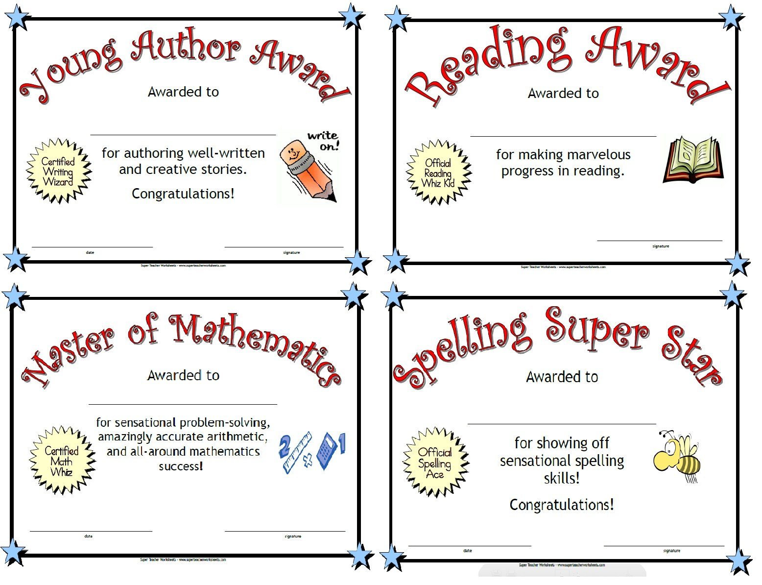 Printable Awards Pertaining To Classroom Certificates Templates