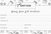 Printable Beauty Gift Certificate Template Koranstickenco Salon Gift within Salon Gift Certificate Template