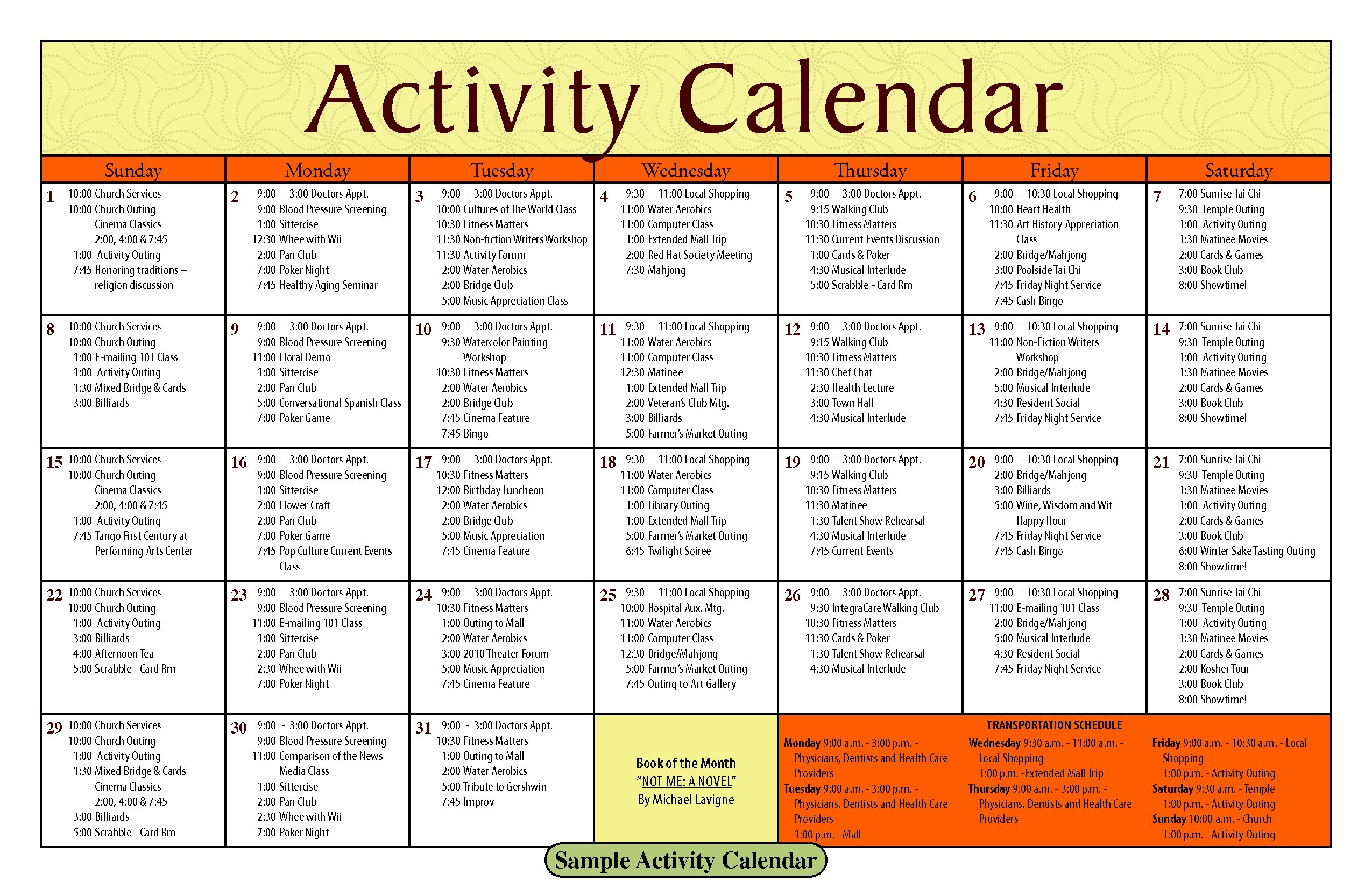 Printable Blank Activity Calendars For Nursing Home Of Printable With Blank Activity Calendar Template