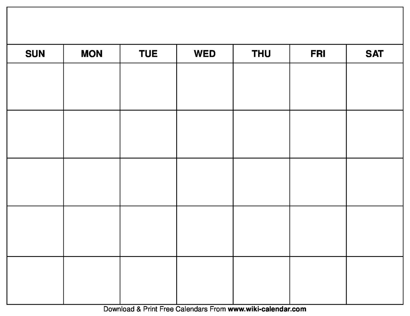 Printable Blank Calendar Templates With Full Page Blank Calendar Template