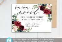 Printable Burgundy Moving Card Template Editable We've  Etsy with regard to Moving Home Cards Template